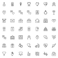 Fototapeta Love and wedding line icons set. linear style symbols collection, outline signs pack. vector graphics. Set includes icons as elixir bottle, Heart calendar, Wedding invitation card, engagement rings