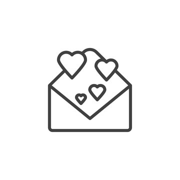 Love letter line icon. linear style sign for mobile concept and web design. Open envelope with hearts outline vector icon. Happy valentine's day message symbol, logo illustration. Vector graphics