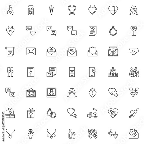 Love and wedding line icons set  linear style symbols collection
