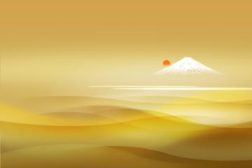 Wall Mural - 富士山と日の出(金色の透明感背景)