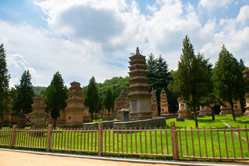 Shaolin, Buddhist monastery and temple in central China. Pagodas, memorial of the high priest of Shaolin temple. Located in the part of Shaolin temple, Songshan Mountain, Dengfeng, Henan, China.
