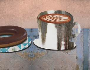 Coffee cup with chocolate donut on a cement texture table ,background,free space for text,collage techniques