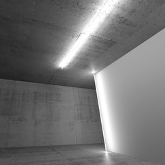 Concrete walls and white banner