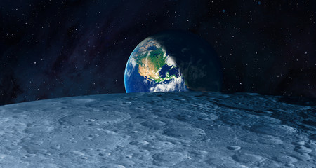 Fotomurales - The Earth as Seen from the Surface of the Moon - Elements of this Image Furnished by NASA