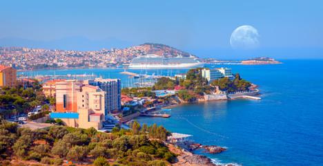 "Cruise ships at the port of Kusadasi with full moon -Kusadasi, Turkey ""Elements of this image furnished by NASA"""