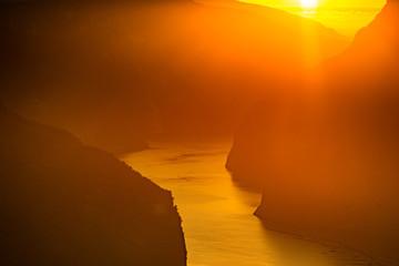Fjord landscape at sunset, Norway
