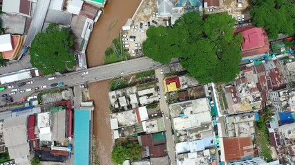 Wall Mural - Aerial view of border market at Mae sai in Thailand and Shan State of Myanmar.
