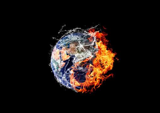 炎と水に包まれた地球