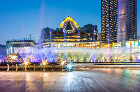 BANGKOK - FEB 28, 2019 : ICONIC Multimedia Water Features, a mixture of lights, sounds and multimedia. This fountain dances show daily at 6.30pm, 8pm and 9pm at River Park, ICONSIAM.