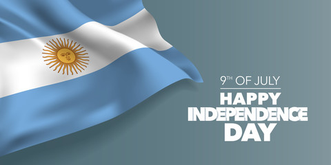 Argentina happy independence day greeting card, banner with template text vector illustration Fotomurales