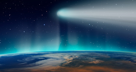 Wall Mural - Comet on the space with aurora borealis