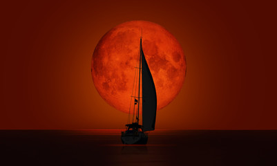 Wall Mural - Big bloody (red) full moon with lone yacht - Lunar eclipse