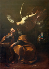 Canvas Prints Dragons COMO, ITALY - MAY 10, 2015: The painting of Vision of angel to St. Jospeh in church Chiesa di San Agostino probably by Francesco Mazzucchelli - Morazzone from 16. cent.