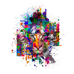 abstract, animal, art, background, colorful, creative, creativity, decoration, decorative, design, drawing, element, fauna, graphic, head, illustration, mammal, modern, power, predator, style, tiger,