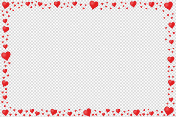 Rectangle Frame Made Of Red Hearts - Vector Illustration - Isolated On Transparent Background