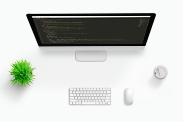 Wall Mural - Top view scene of freelancer code developer work desk. Concept of visual code editor computer screen. Plant, keyboard, mouse and cup of coffee beside.