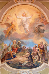 Wall Mural - BELAGGIO, ITALY - MAY 10, 2015: The fresco of Ascension of the Lord in church Santa Maria Annunciata (Visgnola) by Luigi Morgari from 20. cent.