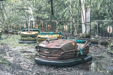obsolete rusty cars in Pripyat park