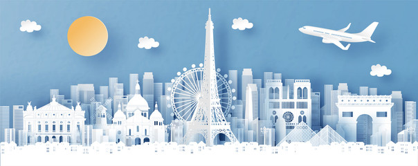 Wall Mural - Panorama view of Paris, France and city skyline with world famous landmarks in paper cut style vector illustration