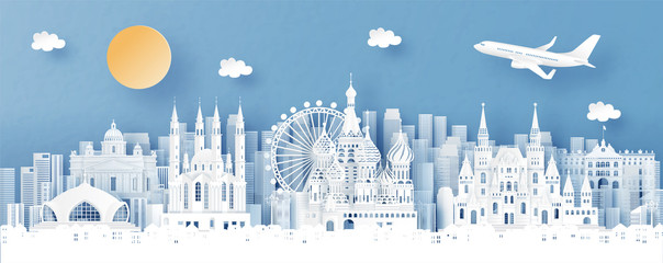 Fototapete - Panorama view of Moscow, Russia and city skyline with world famous landmarks in paper cut style vector illustration