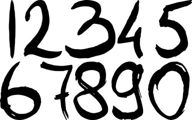 Set of grunge hand-drawn numbers. Modern dry brush lettering. Vector illustration.