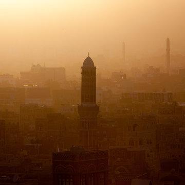 Minaret Of A Mosque At Sunset, Sanaa, Yemen