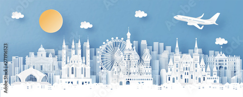 Fototapete Panorama view of Moscow, Russia and city skyline with world famous landmarks in paper cut style vector illustration