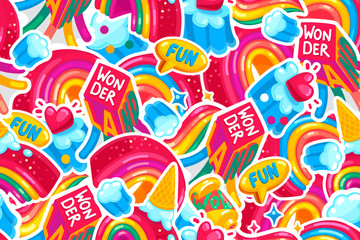 Wonderland rainbow vector seamless pattern. Stickers color background