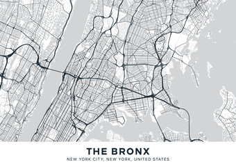 The Bronx map. Light poster with map of The Bronx borough (New York, United States). Highly detailed map of The Bronx with water objects, roads, railways, etc. Printable poster.