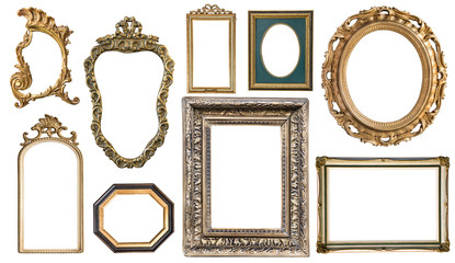 Set Vintage frames with an ornament isolated on white. Retro style