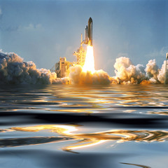 Wall Murals Nasa Water and fascinating liftoff of the rocket. Rocket shuttle spaceship is lifting from earth. Elements of image furnished by NASA.