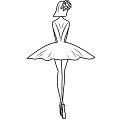 Ballerina silhouette with flowers hairpin. Illustration on white background