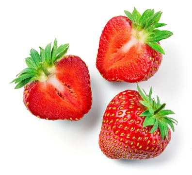 Strawberries isolate. Strawberry whole, half, slice. Cut strawberry on white background.