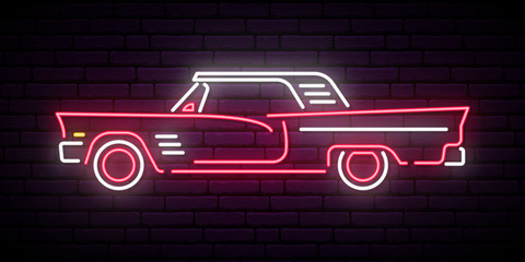 Retro car neon sign. Red and white vintage car glowing sign. Vector illustration.