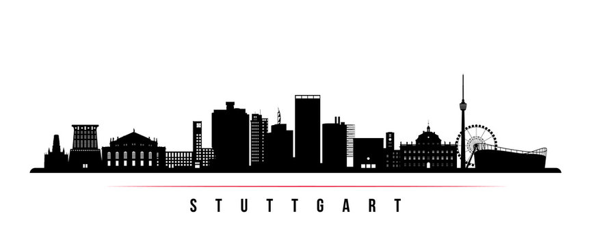Stuttgart city skyline horizontal banner. Black and white silhouette of Stuttgart city, Germany. Vector template for your design.