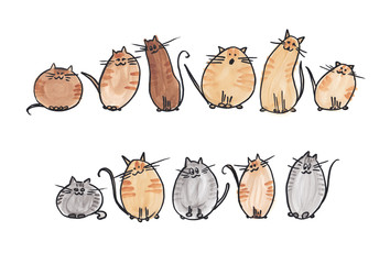 10 cute watercolor cats in 2 line on white background. Watercolor illustration