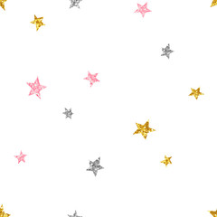 Glittering stars seamless pattern. Colorful sparkling constellation on white background. Shiny pink, golden, silver star symbols. Minimalist wallpaper, wrapping paper, textile print