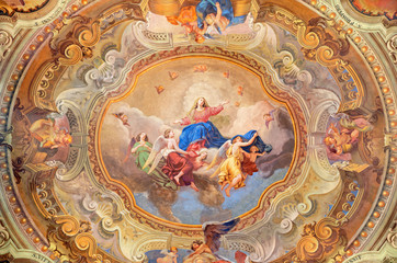 Wall Mural - COMO, ITALY - MAY 8, 2015: The ceiling fresco of Assumption of Virgin Mary in church Santuario del Santissimo Crocifisso by Gersam Turri (1927-1929).
