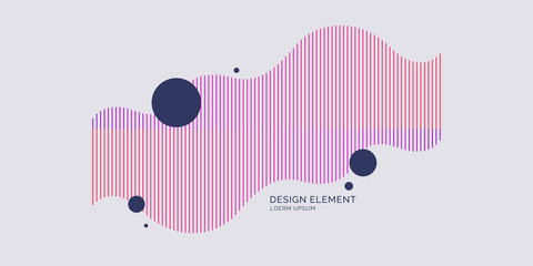 Abstract element with dynamic linear waves. Vector illustration Fototapete