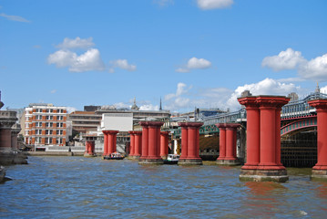 Old Bridge on Thames at day, London, UK