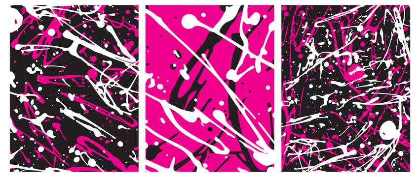 Set o 3 Abstract Geometric Layouts. Irregular Handmade Black, White, Pink Splashes on a Pink and Black Backgrounds. Funny Simple Creative Design. Infantile Style Expressive Painting.