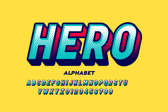 Comics super hero style font, alphabet letters and numbers