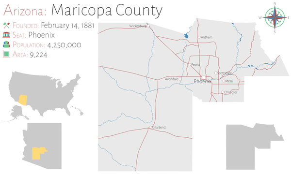 Large and detailed map of Maricopa county in Arizona, USA