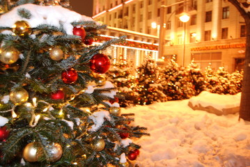 Christmas tree decorated with toys on Moscow street in January 2019, Russia