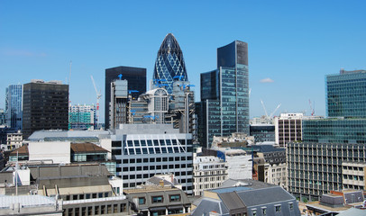 View City skyscrapers from Monument of London in sunny day, London, UK