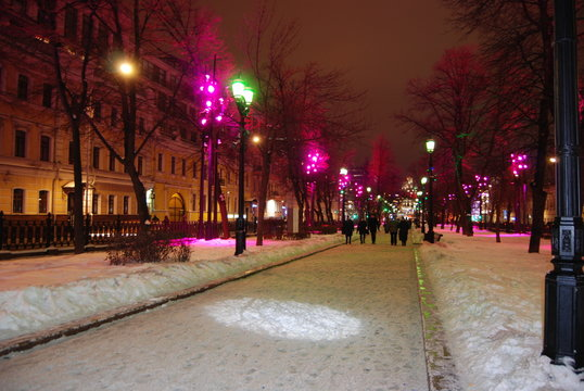 Moscow night street in January 2019, Russia