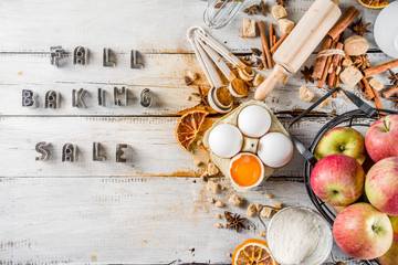 Aluminium Prints Bread Autumn baking sale concept. Cooking seasonal fall baking background with ingredients, spices, apples, supplies, white wooden table top view copy space