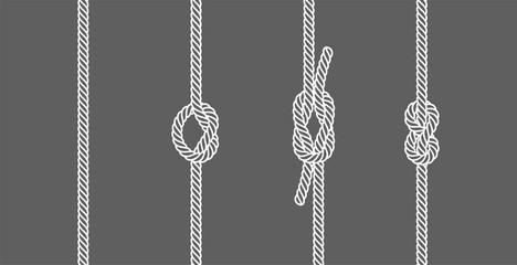 Rope knots borders line set design element different types. vector illustration of knot border