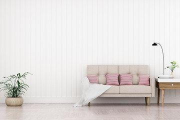 Modern vintage interior of living room - 3D Rendering