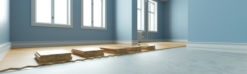 Obraz Parquet lay in old apartment as a panorama - fototapety do salonu